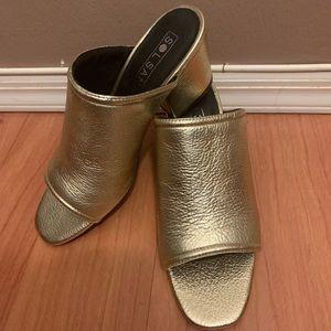 NEW Sol Sana Gold mules sandals Chunky block heel